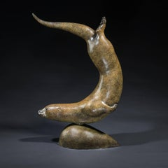 'Otter in Pursuit' Solid Bronze. Modern British Nature & Wildlife Sculpture