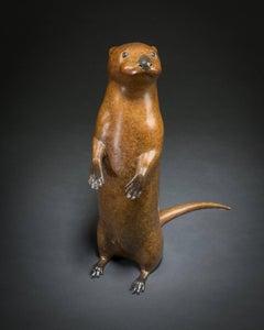 'Otter Pup' Solid Bronze Modern British Wildlife & Nature Sculpture by R Smith