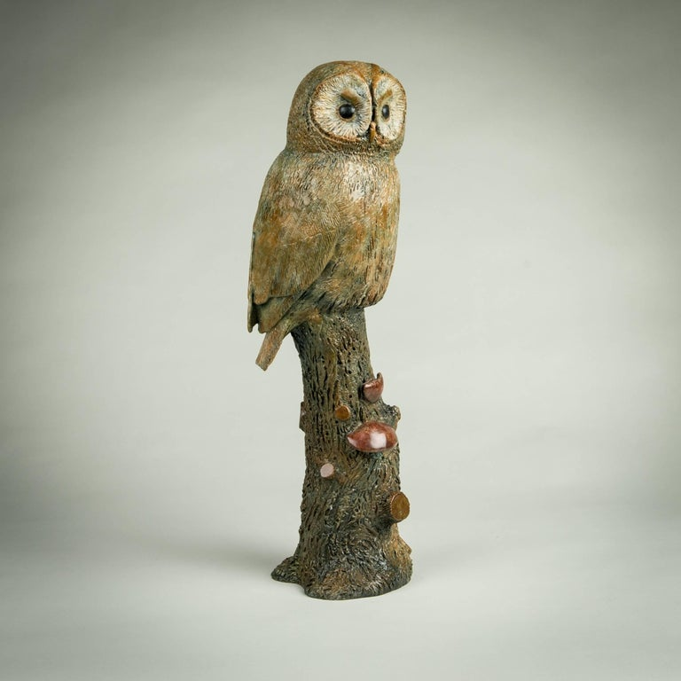 Solid Bronze Wildlife and nature Sculpture 'Tawny Owl' by Richard Smith For Sale 1