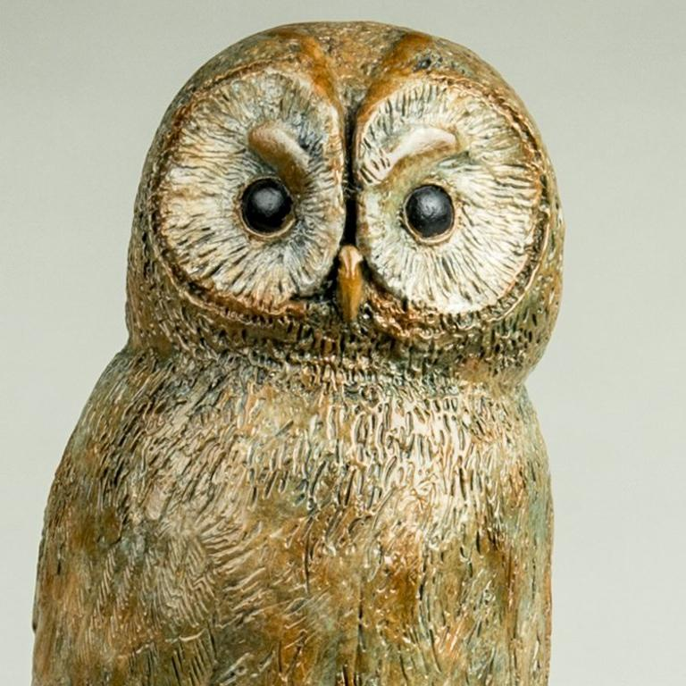 Solid Bronze Wildlife and nature Sculpture 'Tawny Owl' by Richard Smith For Sale 2