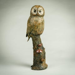 Solid Bronze Wildlife and nature Sculpture 'Tawny Owl' by Richard Smith