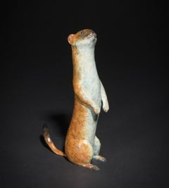 'Stoat' Contemporary Bronze Sculpture by Wildlife Artist Richard Smith
