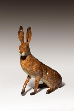 'What me?' Solid Bronze Hare Wildlife & Nature Sculpture by Richard Smith