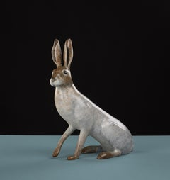 'Arctic Hare' Contemporary Bronze Animal Sculpture of a hare. Patinated White