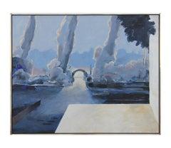 """Glienicke"" Blue Tonal Impressionist River Landscape Painting"