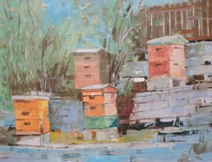 Bee Hives, Painting, Oil on Other