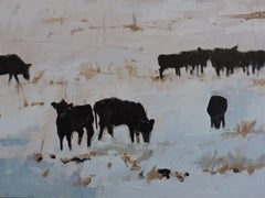 Cows in Snow, Painting, Oil on Wood Panel