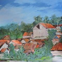 Indonesia #17, Painting, Oil on Wood Panel