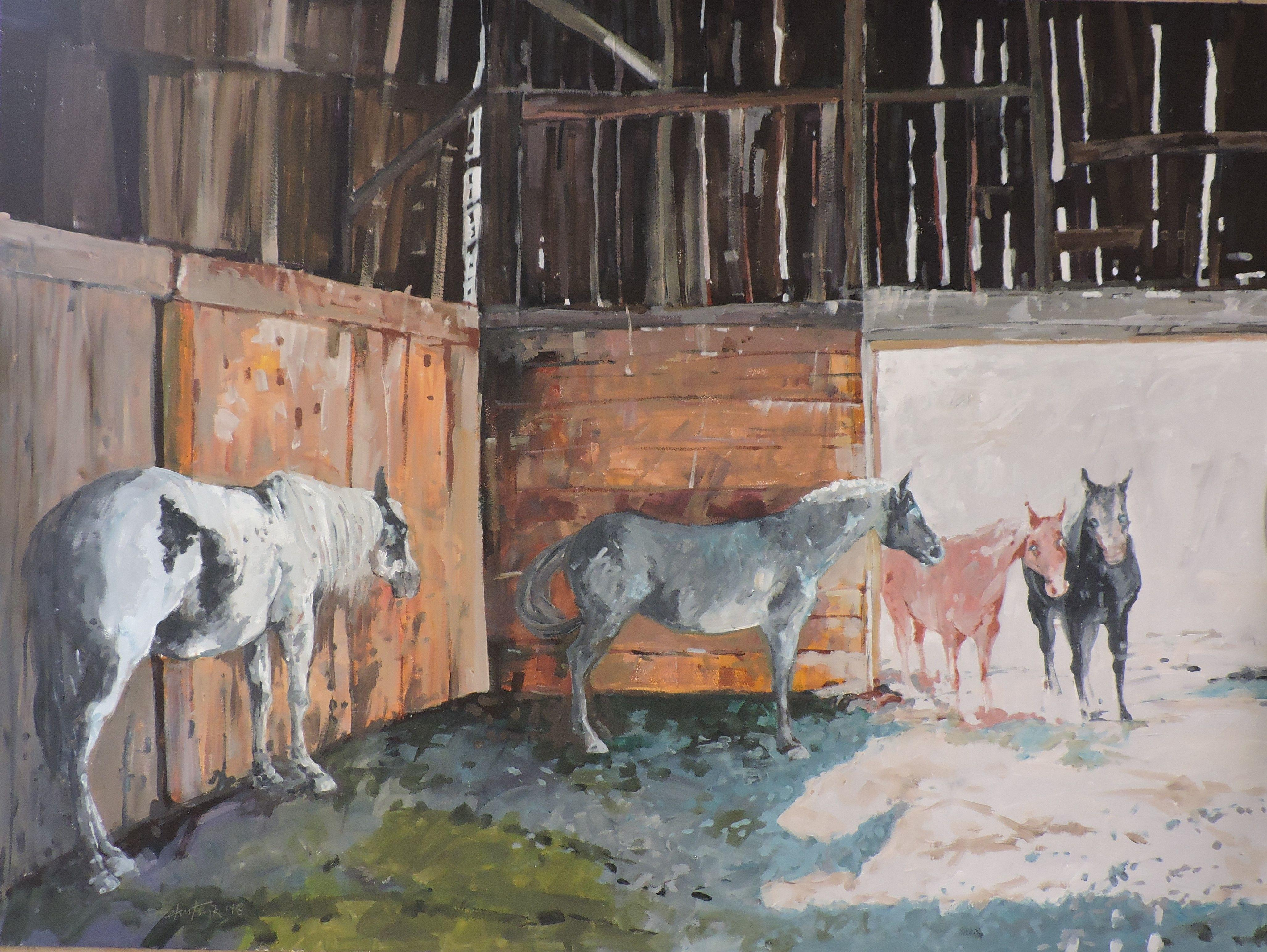Inside Barn, Painting, Oil on Other