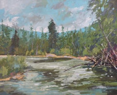 Mountain Stream, Painting, Oil on Wood Panel