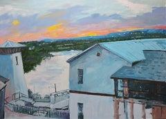 Sunset, Painting, Oil on Wood Panel