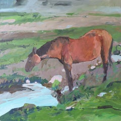 Water for Horse, Painting, Oil on Wood Panel