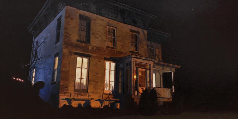 """Richard Thomas Scott Landscape Painting - """"Binary Star"""" - Nocturne - Architectural Painting - American Realism - Wyeth"""