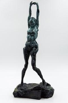 Sculpture XXXI - nude female figure stretching bronze statuette