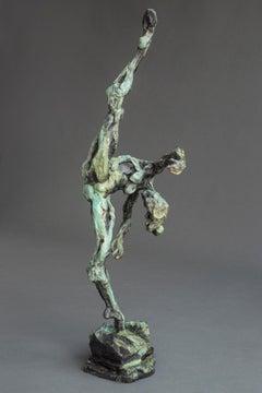 Female Dancer - Untitled No 51 1/8 - nude female patinated bronze statuette