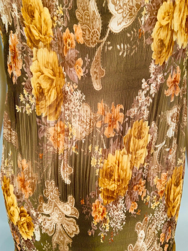 Women's Richard Tyler Couture Autumn Floral Printed Silk Chiffon Dress For Sale