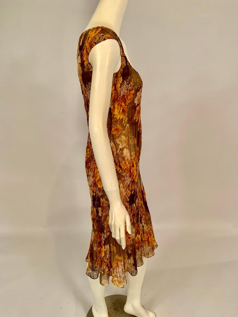 Richard Tyler Couture Autumn Floral Printed Silk Chiffon Dress For Sale 1