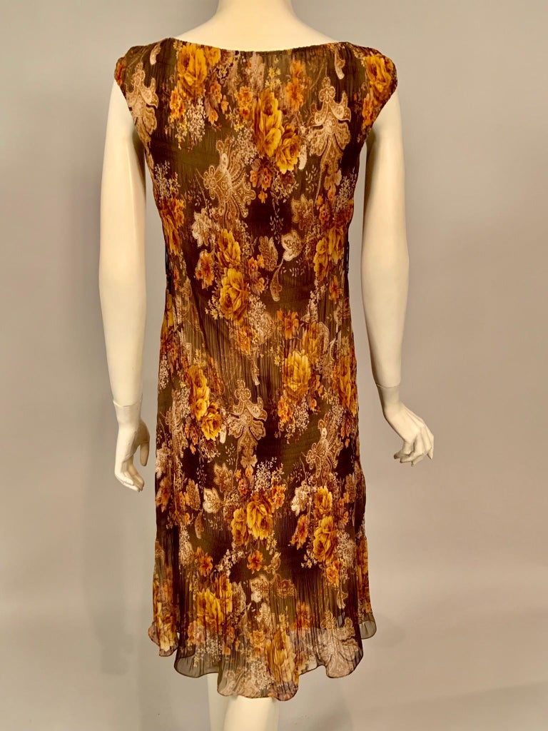 Richard Tyler Couture Autumn Floral Printed Silk Chiffon Dress For Sale 2