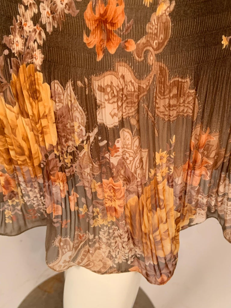 Richard Tyler Couture Autumn Floral Printed Silk Chiffon Dress For Sale 3