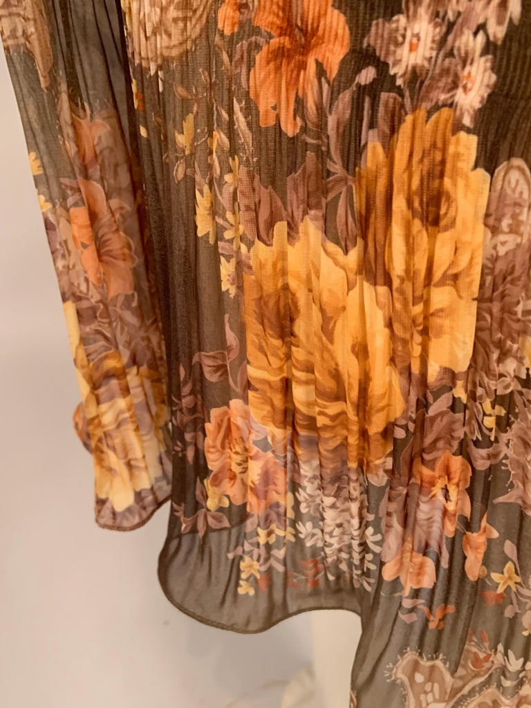 Richard Tyler Couture Autumn Floral Printed Silk Chiffon Dress For Sale 4
