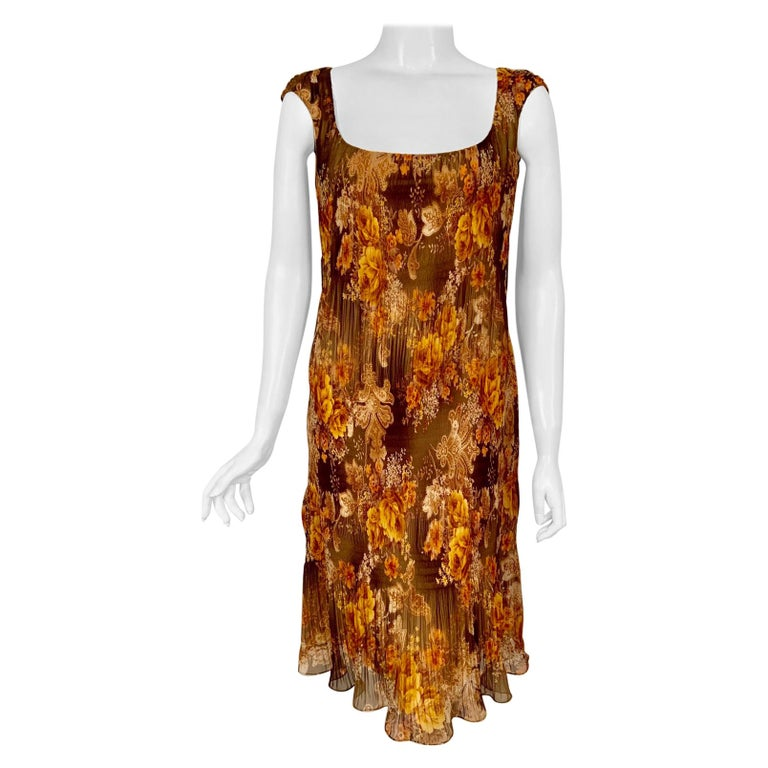 Richard Tyler Couture Autumn Floral Printed Silk Chiffon Dress For Sale