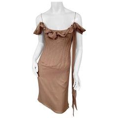 Richard Tyler Couture Boned Mauve Silk Chiffon Cocktail Dress