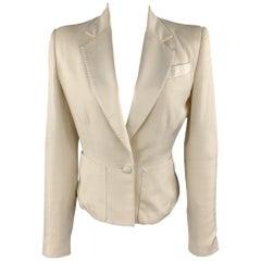 RICHARD TYLER Size 6 Cream Silk Shantung Cropped Satin Lapel Blazer