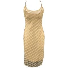 RICHARD TYLER Size 6 Gold Diagonal Striped Mesh Overlay Slip Dress