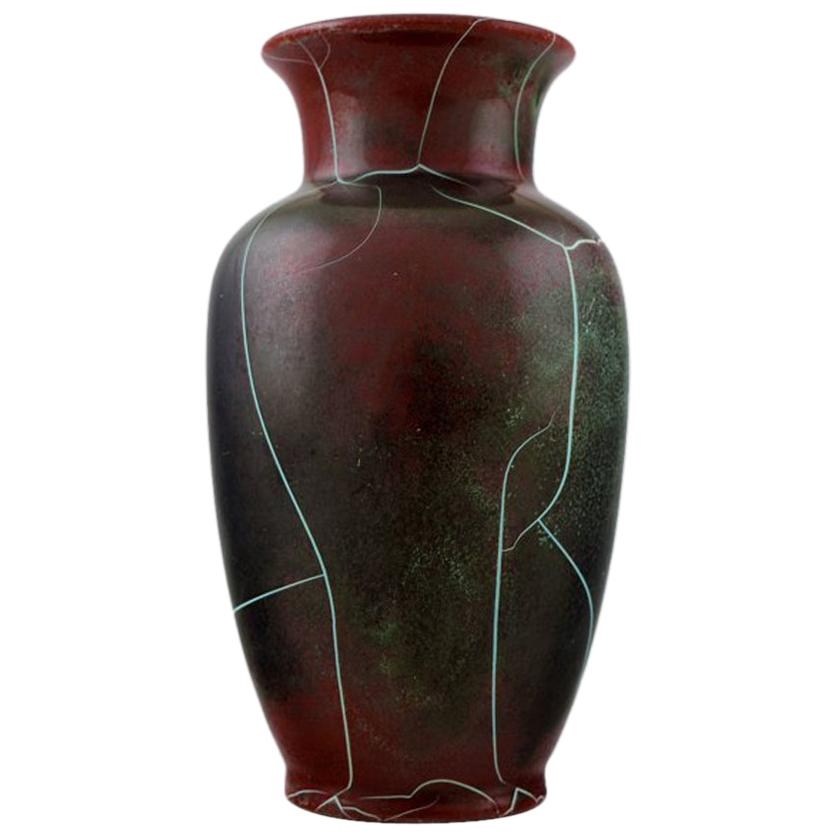 Richard Uhlemeyer, German Ceramist, Ceramic Vase, Beautiful Cracked Glaze