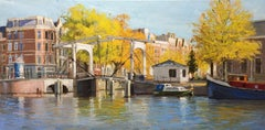 ''Bridges, Boats and Trees'' Contemporary Impressionistic Painting of Amsterdam