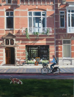 On Her Way, 21st Century Contemporary Oil Painting of a Girl Cycling in The City