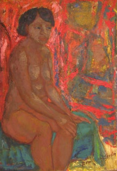 Colorful Seated Expressionist Figurative Oil Painting on Canvas, 20th Century