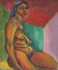 Seated Expressionist Figurative Oil Painting, Mid 20th Century
