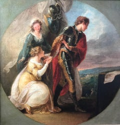 Fine Historical Oil on Canvas of a Knight in a Red Cloak and Two Maidens