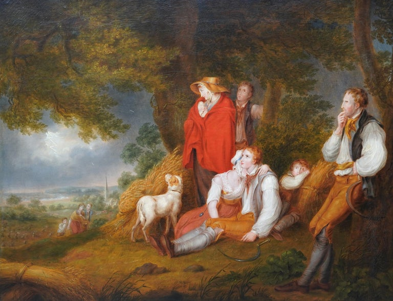 Haymakers in a Storm - British Old Master art portrait landscape oil painting - Painting by Richard Westall