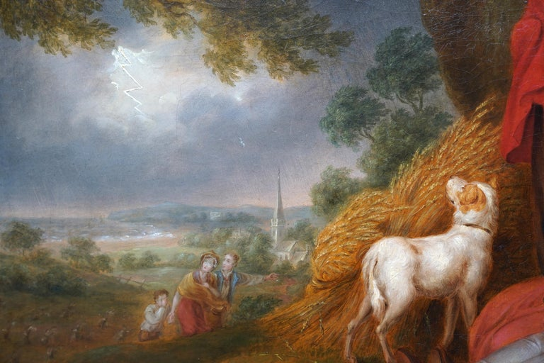 Haymakers in a Storm - British Old Master art portrait landscape oil painting For Sale 2