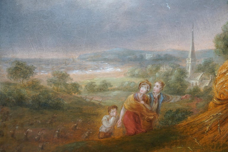 Haymakers in a Storm - British Old Master art portrait landscape oil painting For Sale 3