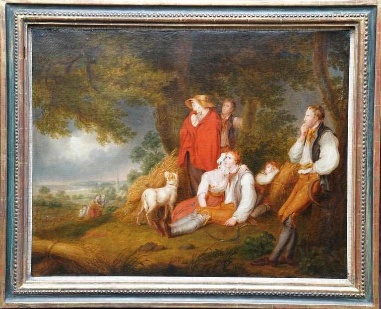 Richard Westall Figurative Painting - Haymakers in a Storm - British Old Master art portrait landscape oil painting