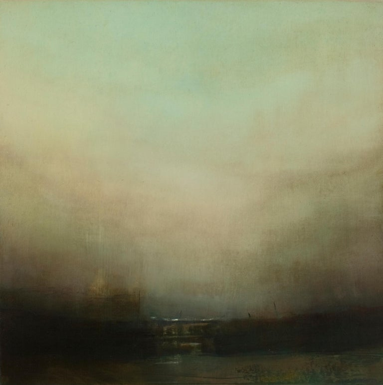 Harbour Wall, Richard Whadcock, Original Painting, Oil on Canvas, Classical Art - Brown Landscape Painting by Richard Whadcock