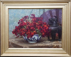 Still Life of Flowers with Chinese Antique - British 19thC art oil painting