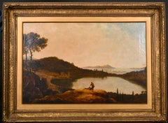 Follower of Richard Wilson (1713-1782) Antique Oil Figures in Sunset Landscape