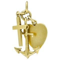Richardson Mfg. Retro 14 Karat Gold Faith Hope and Love Charm