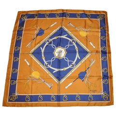 "Richel (Paris) Golden Brown & Navy ""Riding Gear"" Silk Scarf"