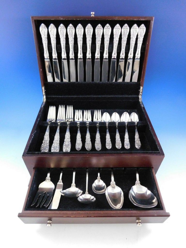 Dinner size Richelieu by International Sterling Silver flatware set, 56 pieces. This set includes:  12 dinner size knives, 9 5/8