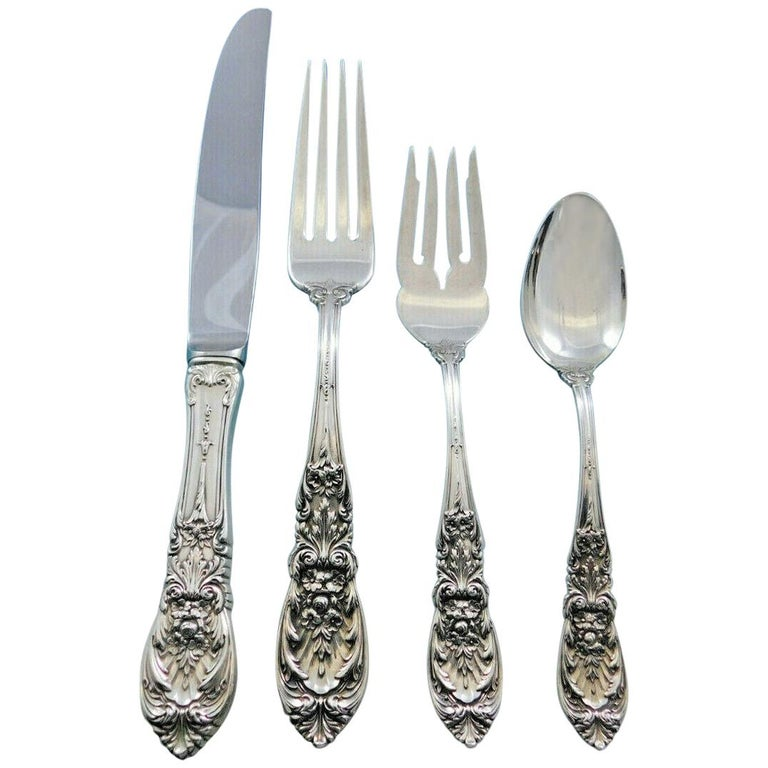 Richelieu by International Sterling Silver Flatware Set Service 56 Pcs Dinner For Sale