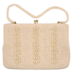 Richere Ivory Beaded Handbag / Clutch Bag Hand Made in Japan circa 1950s