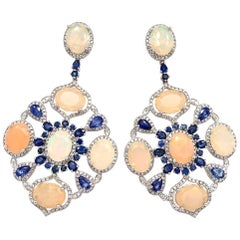 Ruchi New York Ethiopian Opal and Blue Sapphire Earrings