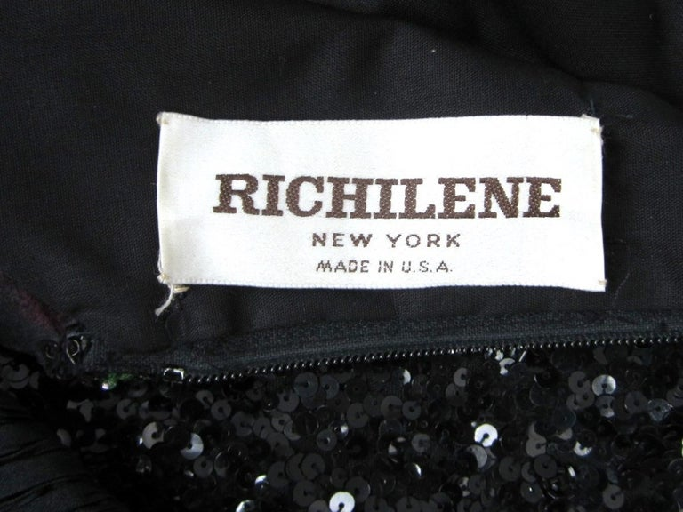 Richilene Black Floral Sequined Sculptured Gown 1990s For Sale 6