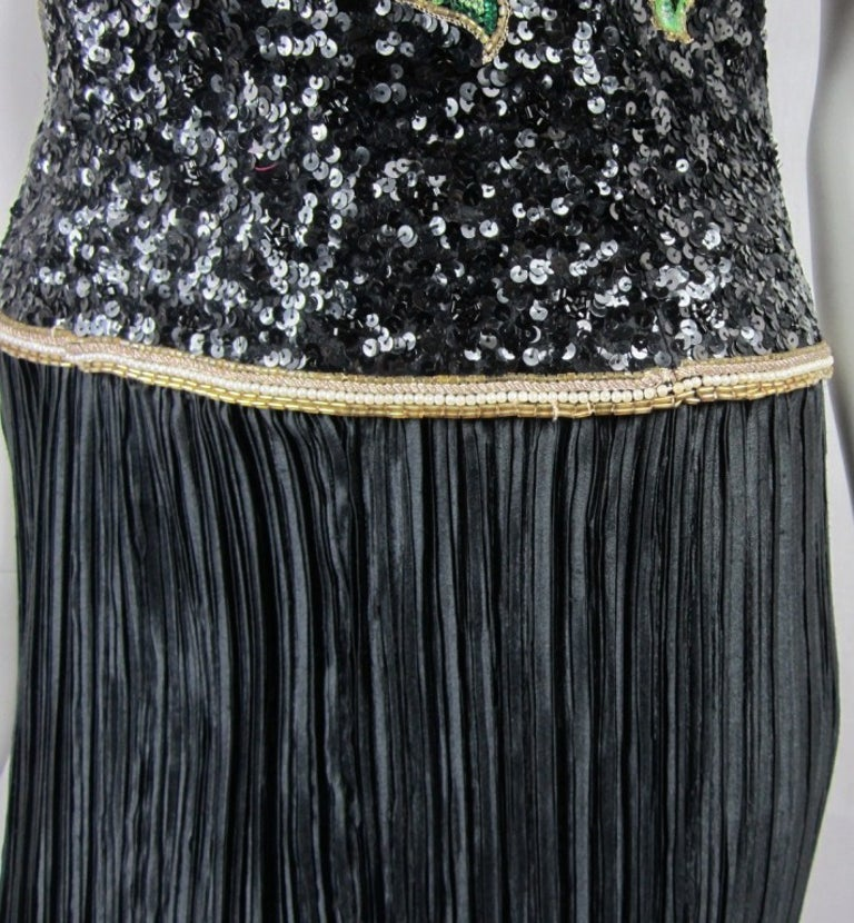 Richilene Black Floral Sequined Sculptured Gown 1990s For Sale 2