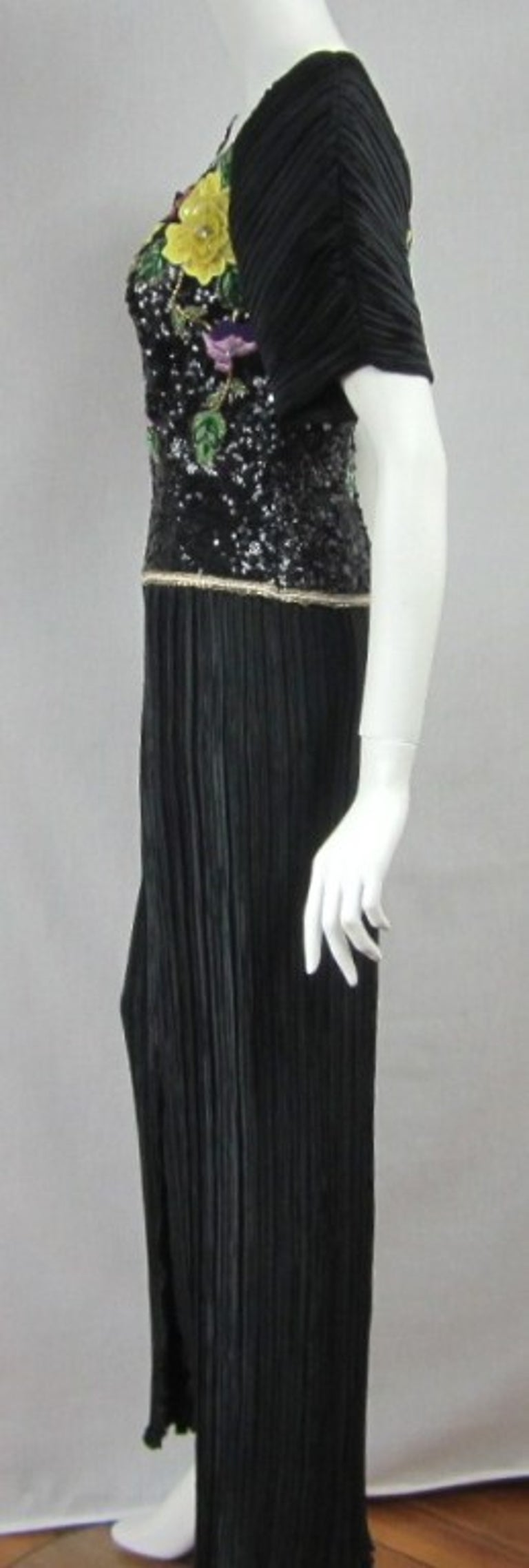 Richilene Black Floral Sequined Sculptured Gown 1990s For Sale 4
